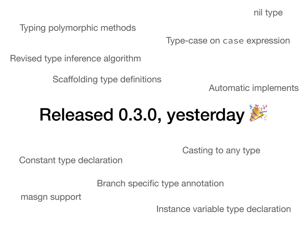 Released 0.3.0, yesterday  Automatic implements...