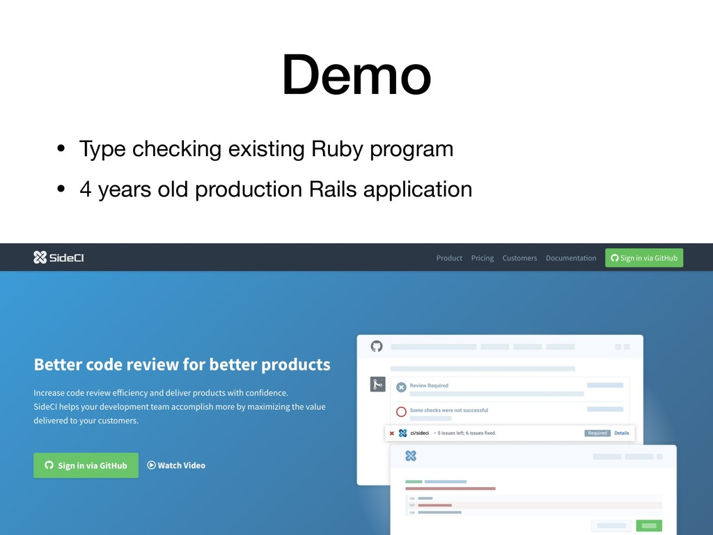 Demo • Type checking existing Ruby program  • 4...