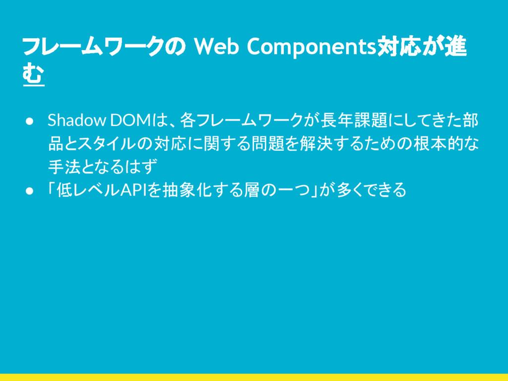 フレームワークの Web Components対応が進 む ● Shadow DOMは、各フレ...