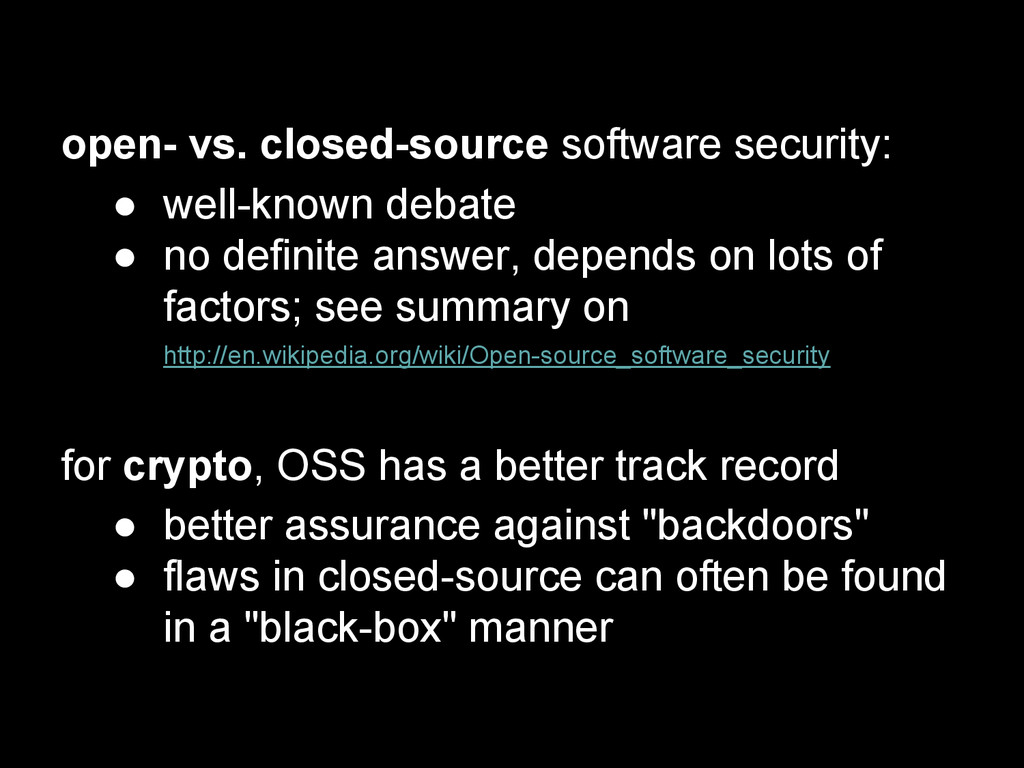 open- vs. closed-source software security: ● we...