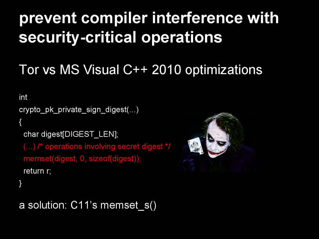 prevent compiler interference with security-cri...