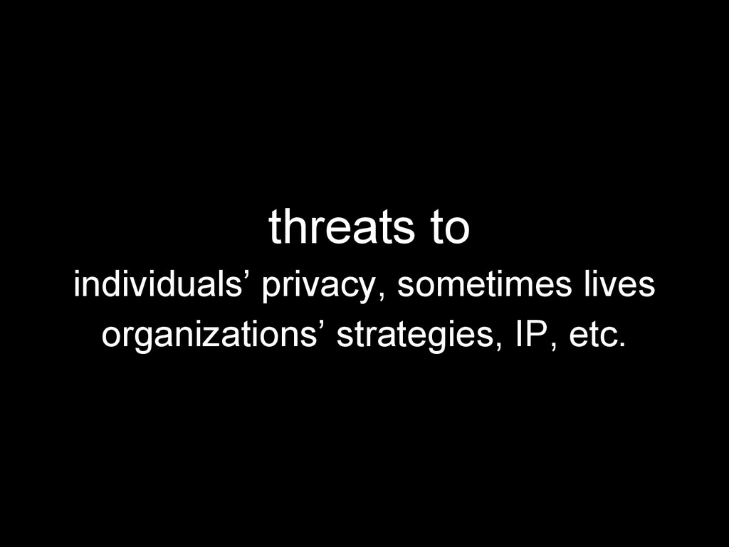 threats to individuals' privacy, sometimes live...