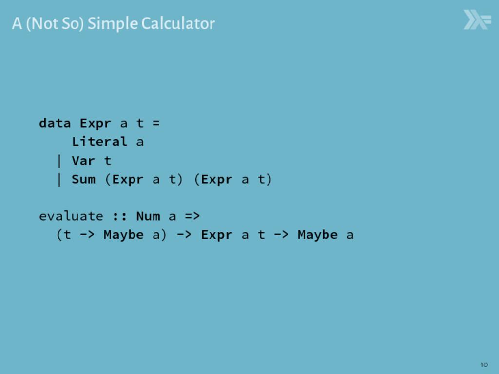 A (Not So) Simple Calculator data Expr a t = Li...