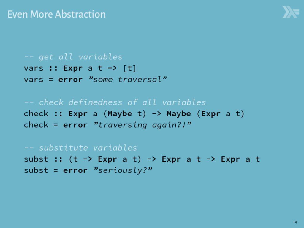 Even More Abstraction -- get all variables vars...