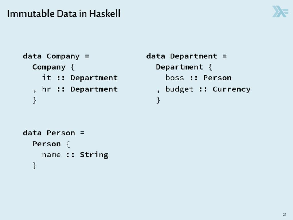 Immutable Data in Haskell data Company = data D...