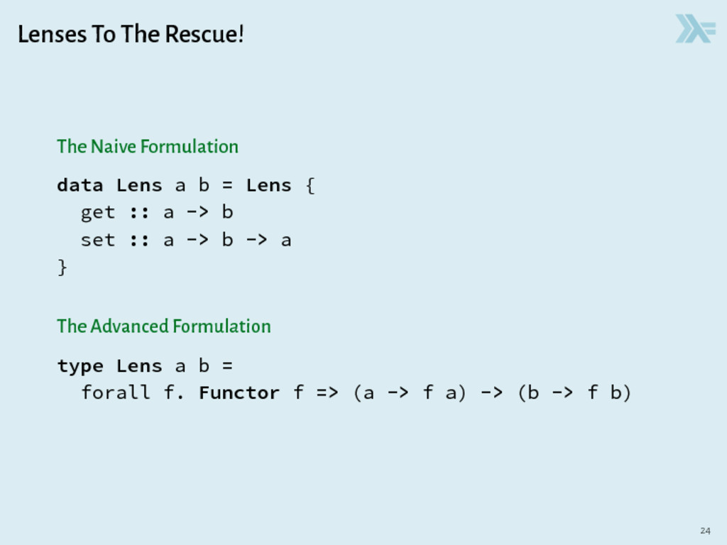 Lenses To The Rescue! The Naive Formulation dat...