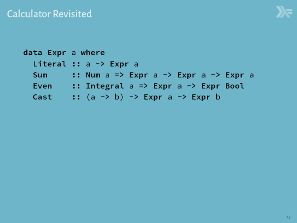 Calculator Revisited data Expr a where Literal ...