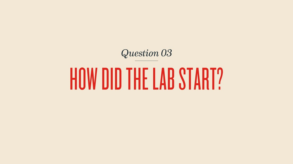 Question 03 HOW DID THE LAB START?