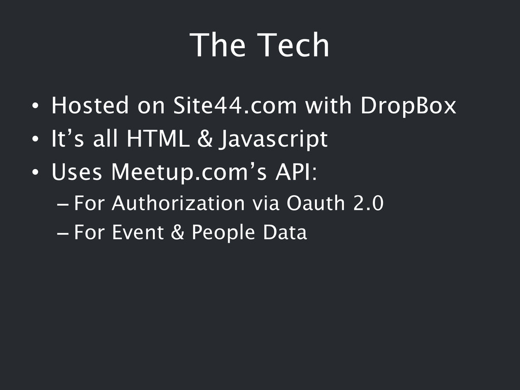 The Tech • Hosted on Site44.com with DropBox • ...
