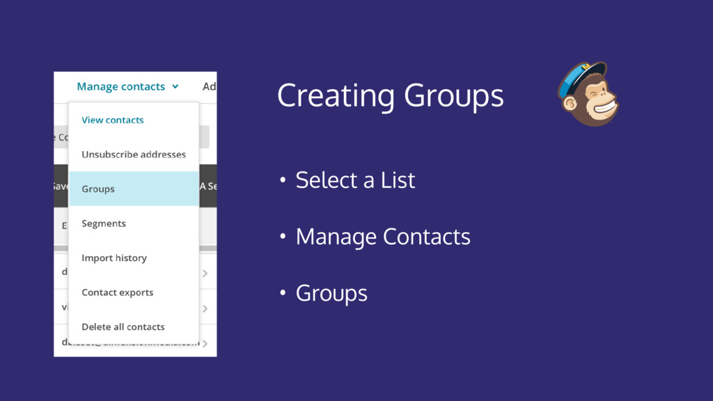 Creating Groups • Select a List • Manage Contac...