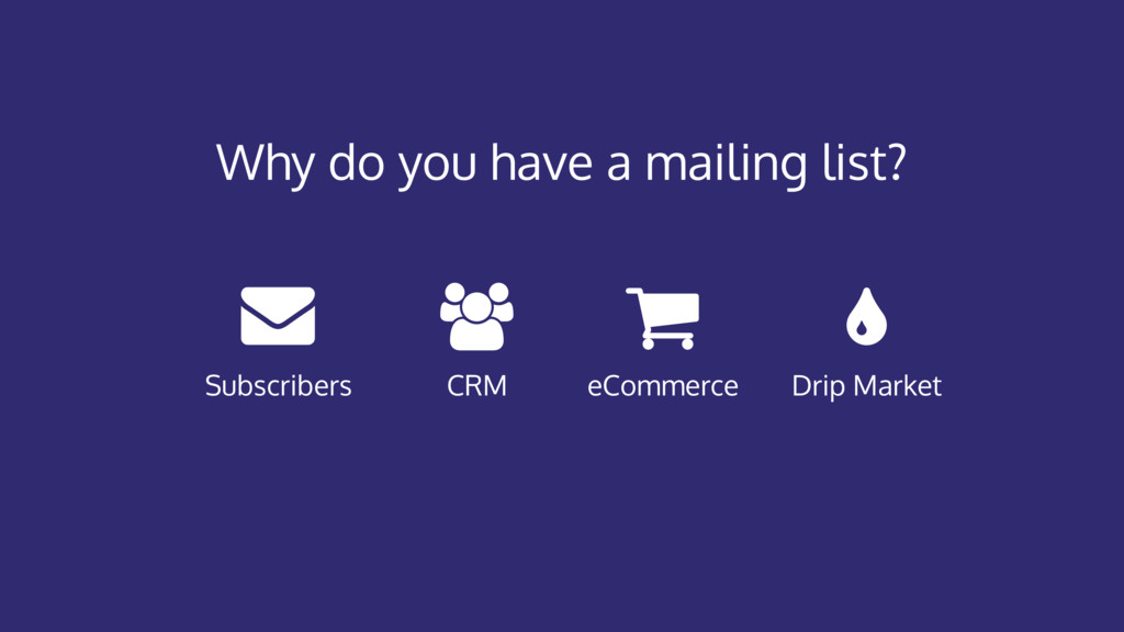 Why do you have a mailing list? CRM eCommerce D...