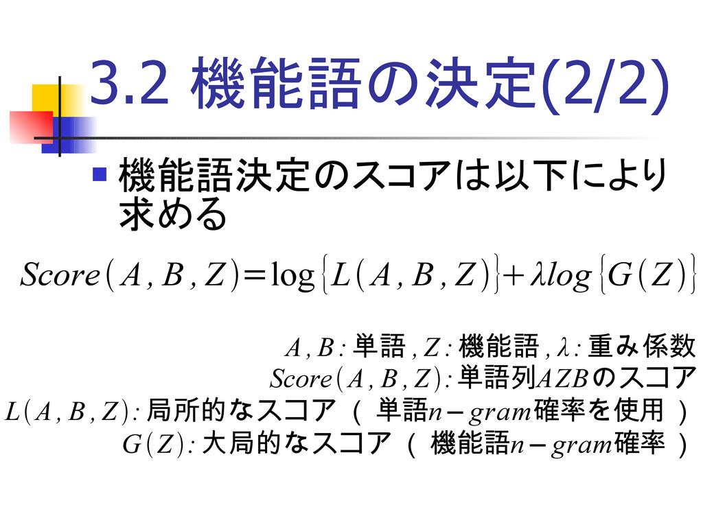 3.2 機能語の決定(2/2) A , B: 単語 , Z : 機能語 , λ:重み係数 Sc...