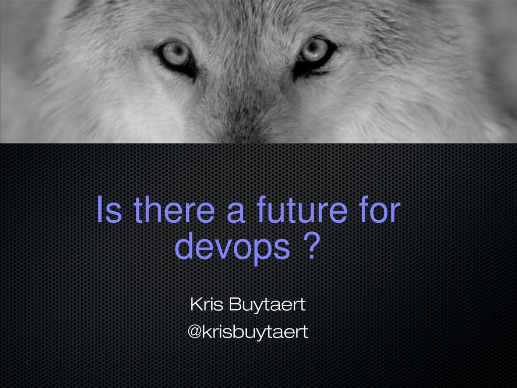 Is there a future for devops ? Kris Buytaert @k...