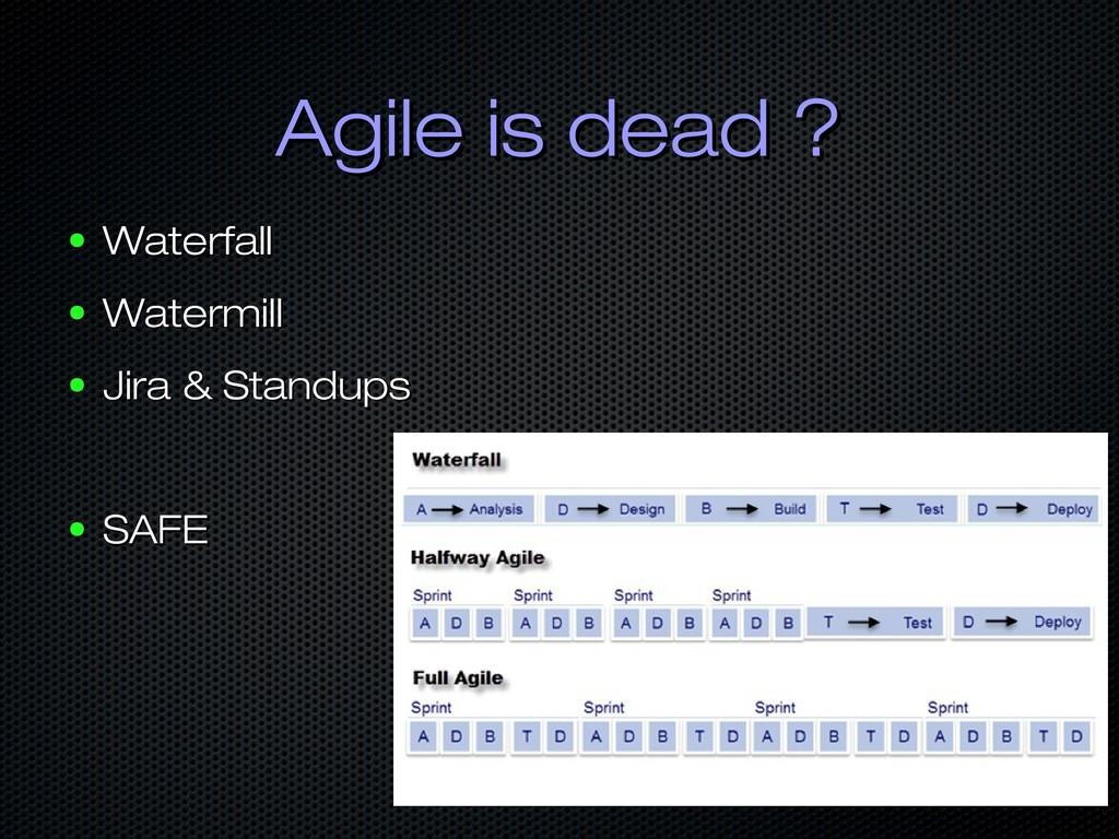 Agile is dead ? Agile is dead ? ● Waterfall Wat...