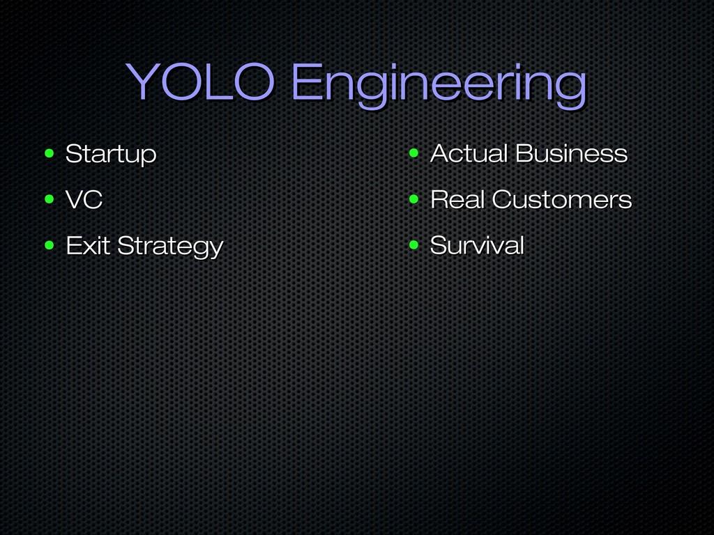 YOLO Engineering YOLO Engineering ● Startup Sta...