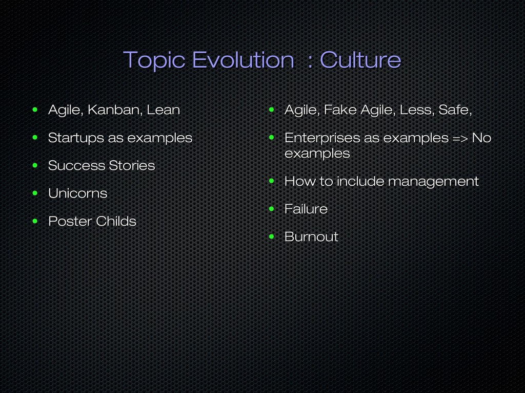 Topic Evolution : Culture Topic Evolution : Cul...