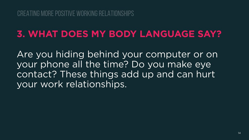 3. WHAT DOES MY BODY LANGUAGE SAY? Are you hidi...