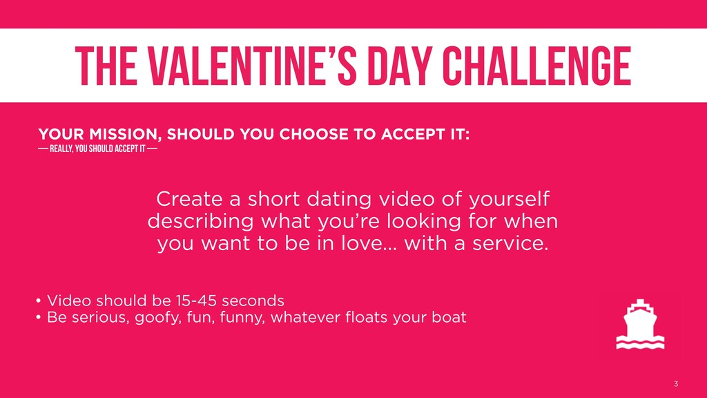 Create a short dating video of yourself describ...