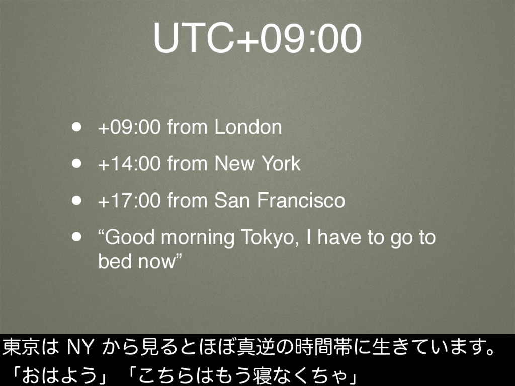 UTC+09:00 • +09:00 from London • +14:00 from Ne...
