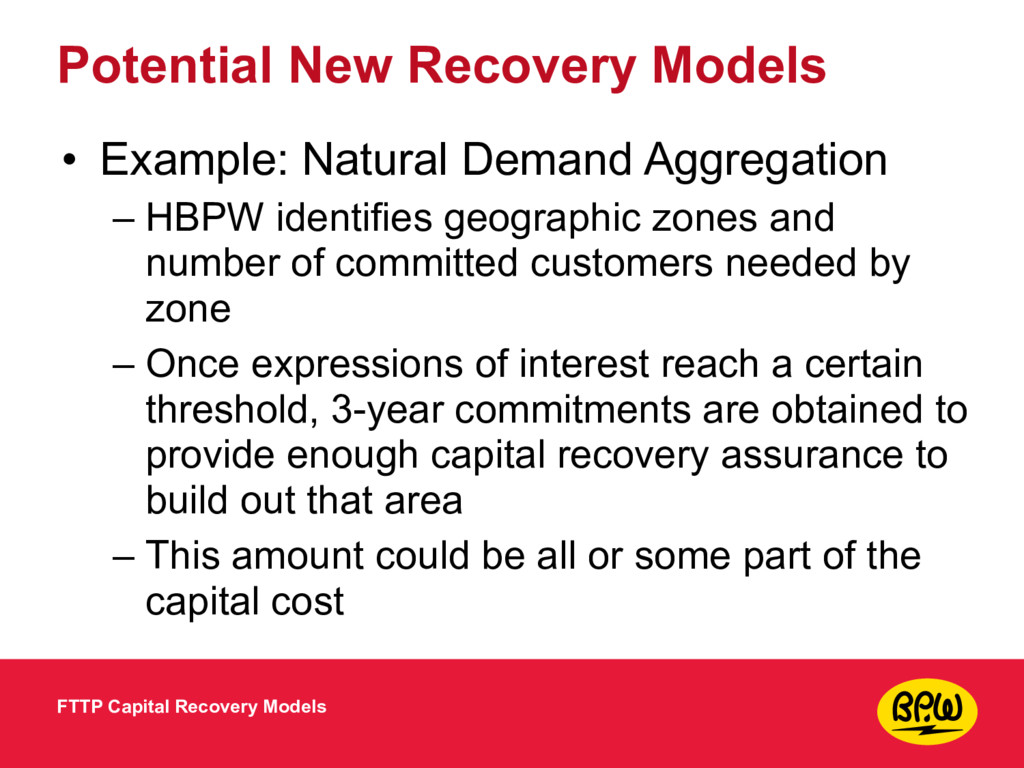 Potential New Recovery Models • Example: Natura...