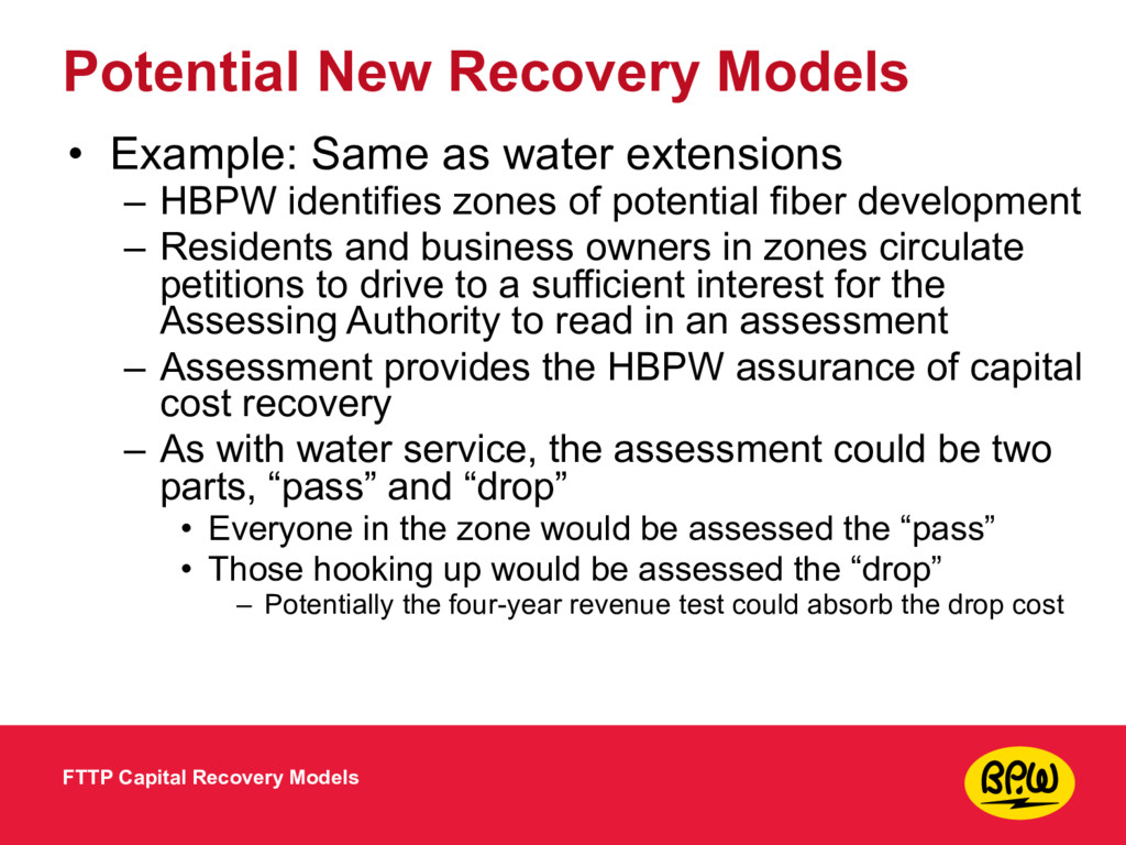 Potential New Recovery Models • Example: Same a...
