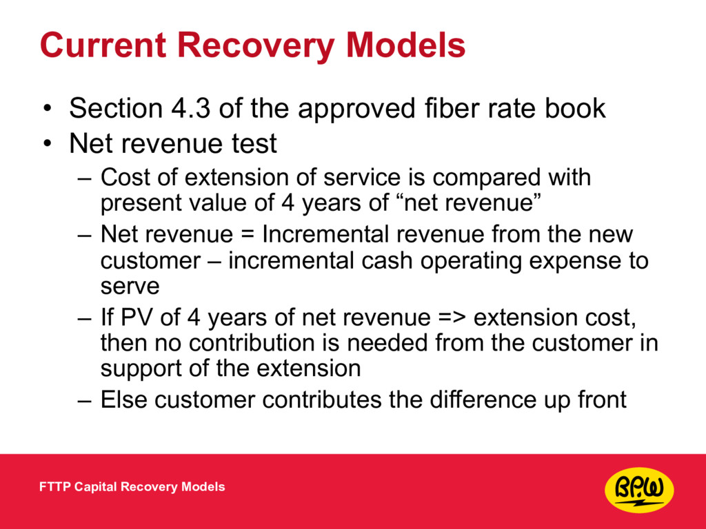 Current Recovery Models • Section 4.3 of the ap...