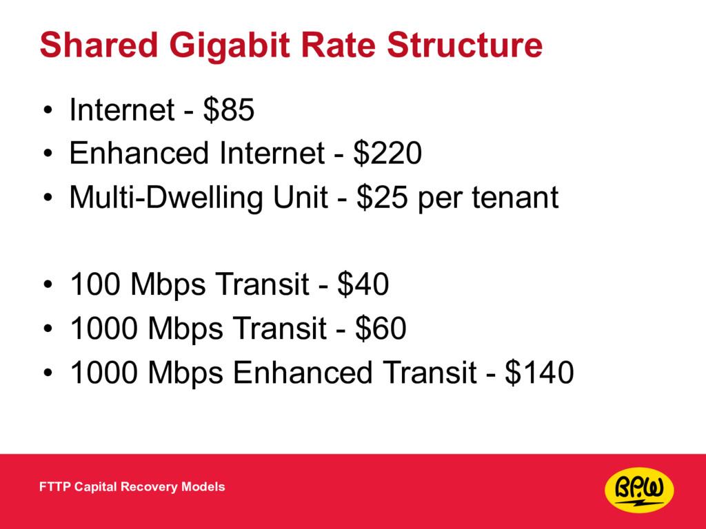 Shared Gigabit Rate Structure • Internet - $85 ...