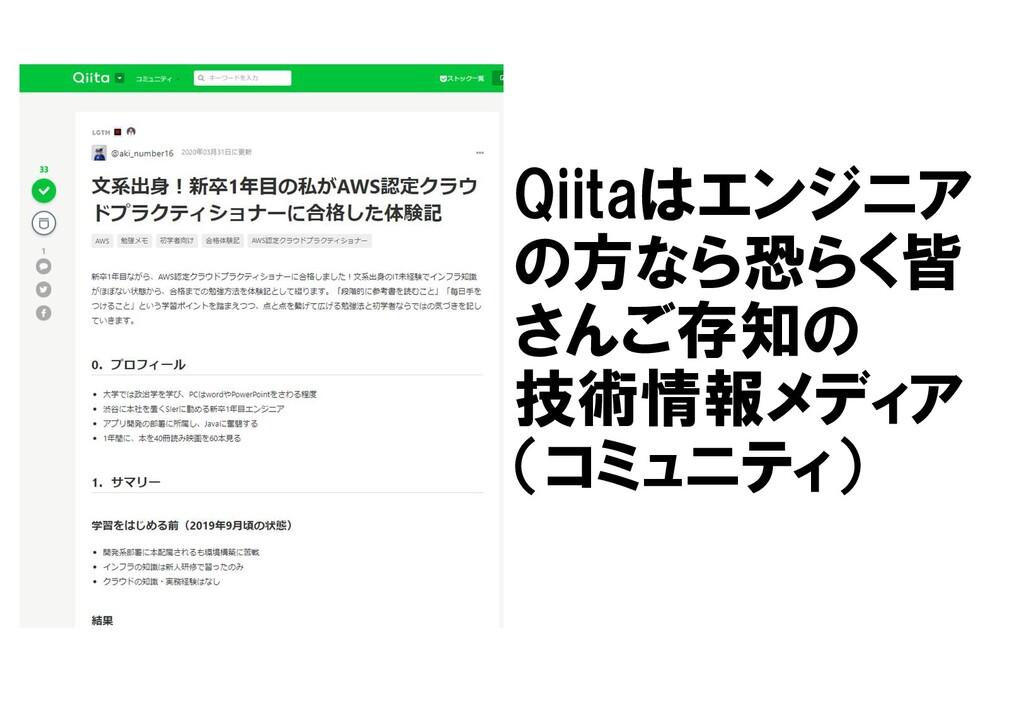 Qiitaはエンジニア の方なら恐らく皆 さんご存知の 技術情報メディア (コミュニティ)