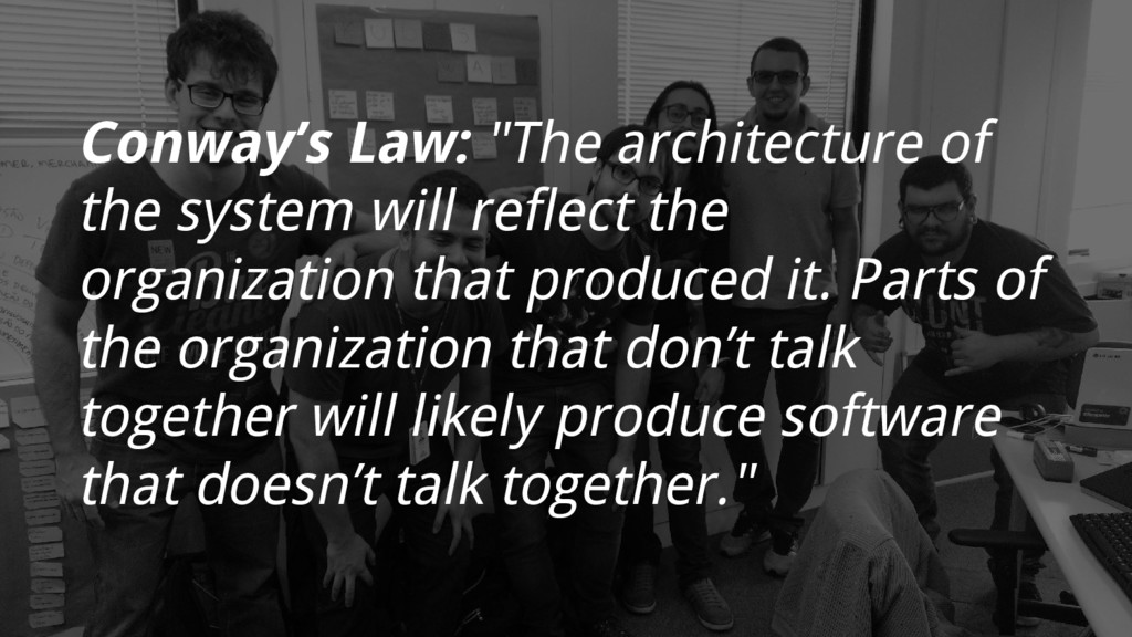 """Conway's Law: """"The architecture of the system w..."""