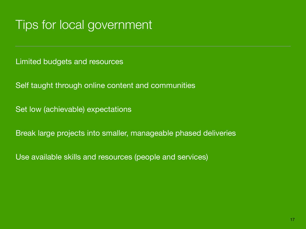 Tips for local government Limited budgets and r...