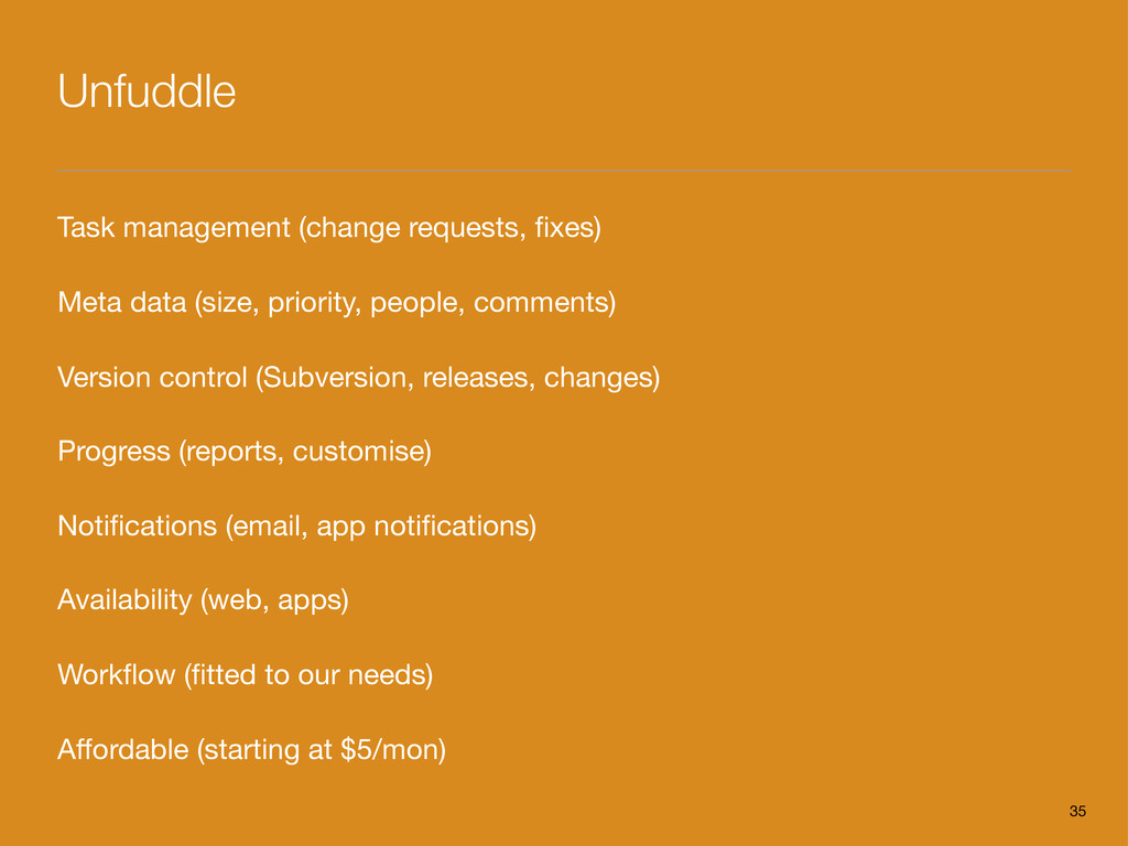 Unfuddle Task management (change requests, fixes...