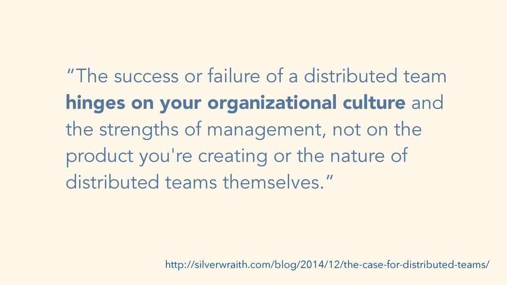 """The success or failure of a distributed team h..."