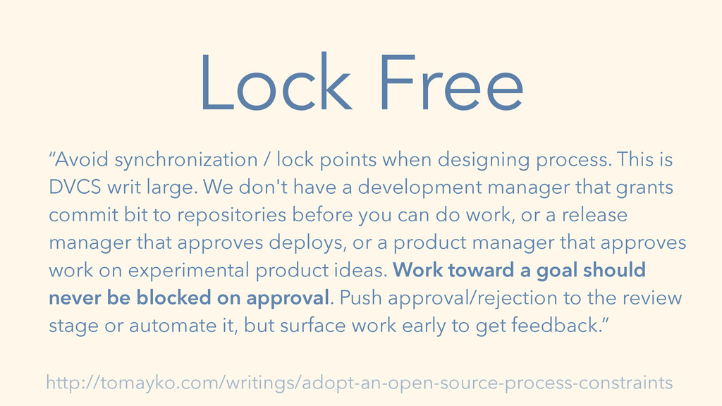 "Lock Free ""Avoid synchronization / lock points ..."