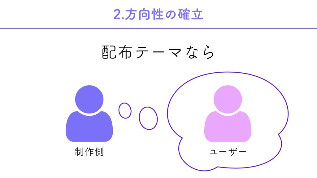 2.方向性の確立 配布テーマなら   制作側 ユーザー