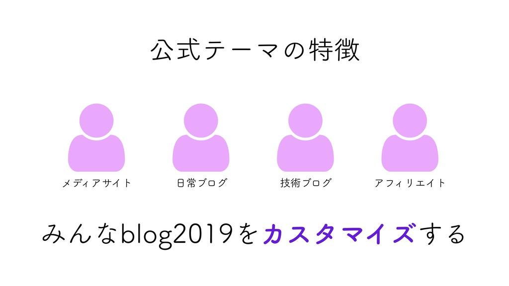 公式テーマの特徴  メディアサイト  日常ブログ  技術ブログ  アフィリエイト みん...