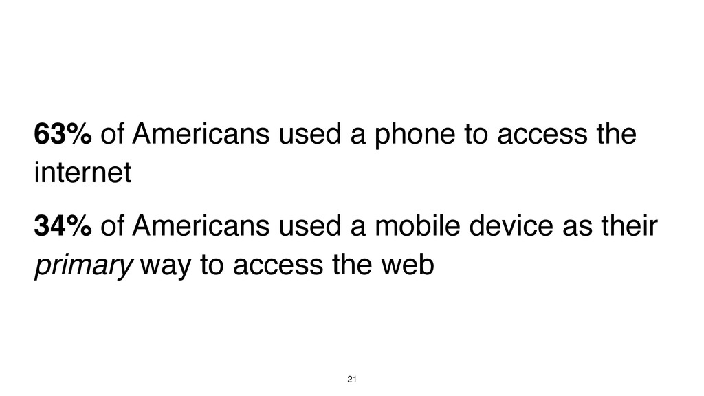 21 63% of Americans used a phone to access the ...