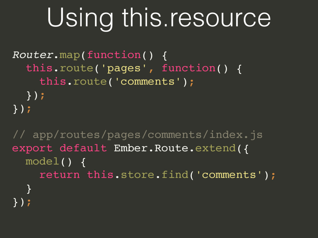 Using this.resource Router.map(function() {