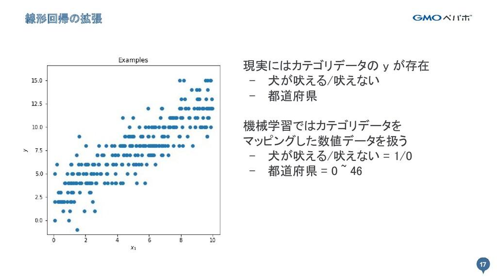 17 線形回帰の拡張 17 現実にはカテゴリデータの y が存在 - 犬が吠える/吠えない...