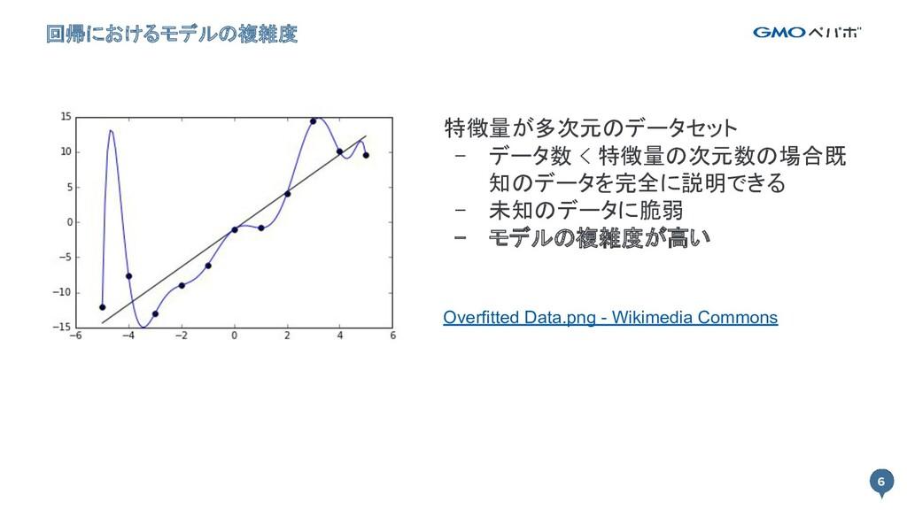 6 回帰におけるモデルの複雑度 6 特徴量が多次元のデータセット - データ数 < 特徴量の...