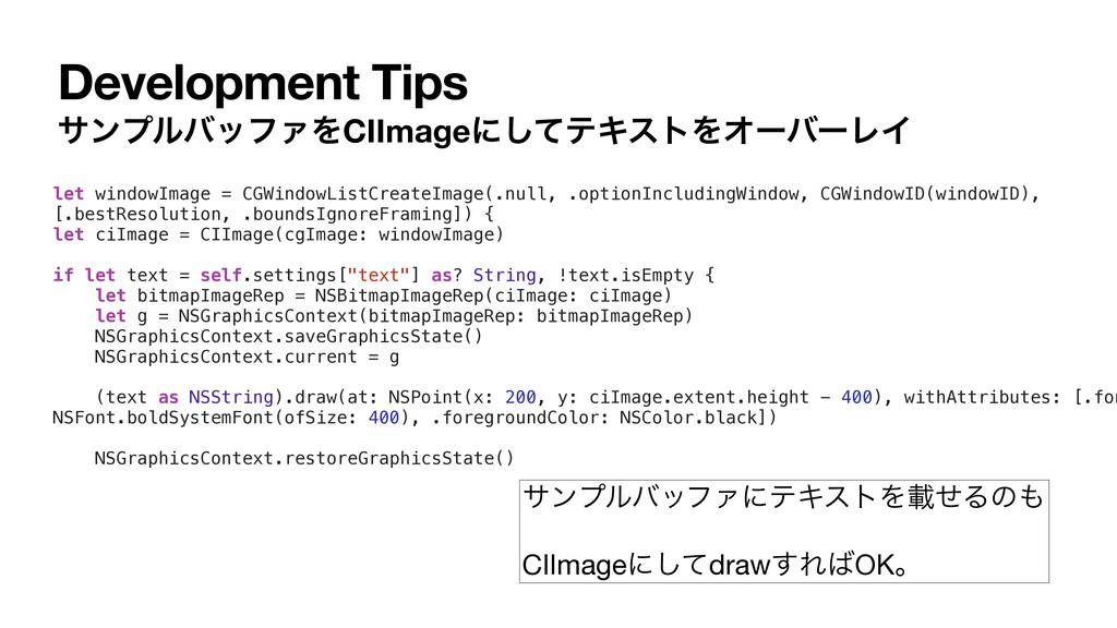 Development Tips αϯϓϧόοϑΝΛCIImageʹͯ͠ςΩετΛΦʔόʔϨΠ...