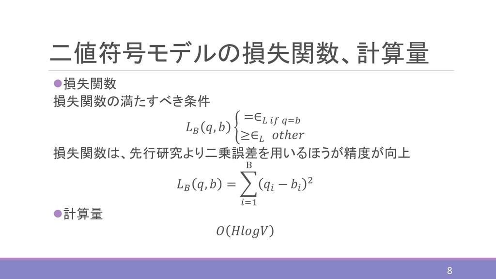 二値符号モデルの損失関数、計算量 ⚫損失関数 損失関数の満たすべき条件  ,  ቊ =∈  =...