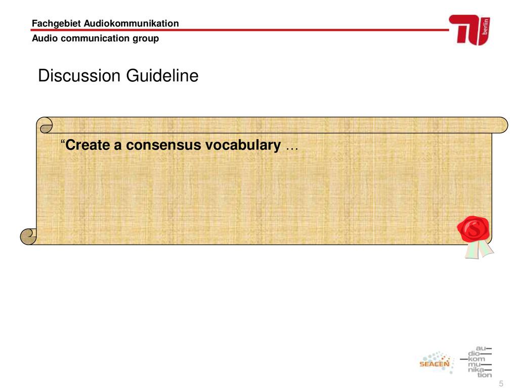 5 Fachgebiet Audiokommunikation Audio communica...
