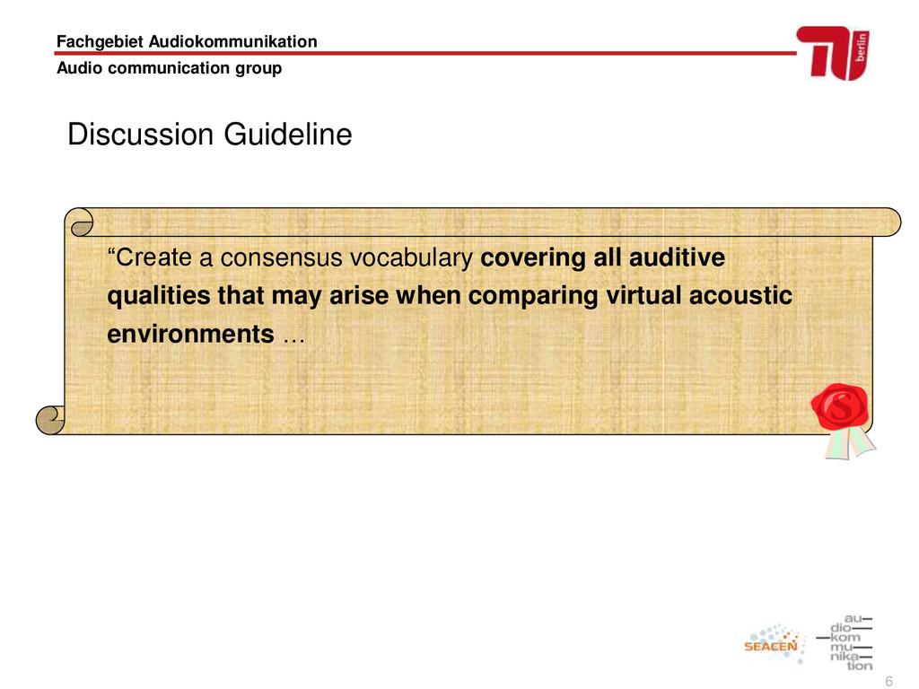 6 Fachgebiet Audiokommunikation Audio communica...