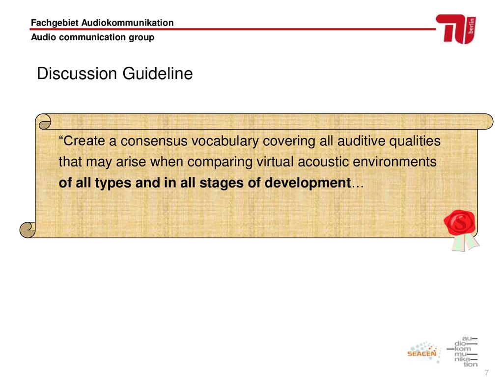 7 Fachgebiet Audiokommunikation Audio communica...