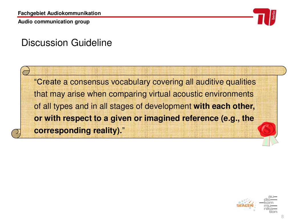 8 Fachgebiet Audiokommunikation Audio communica...