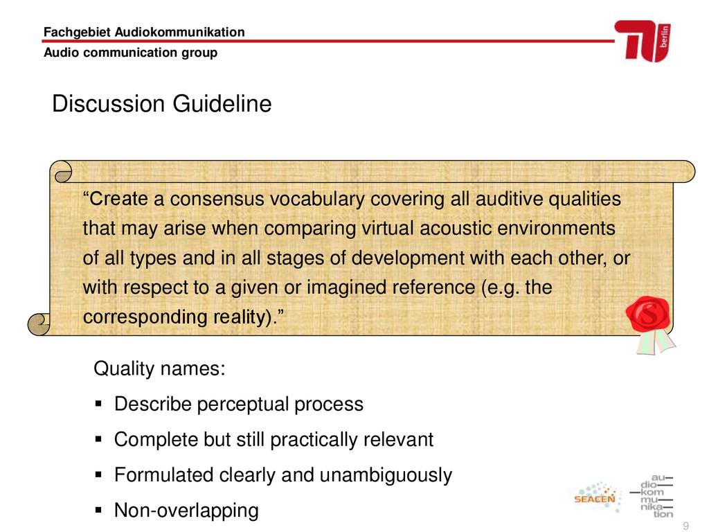 9 Fachgebiet Audiokommunikation Audio communica...