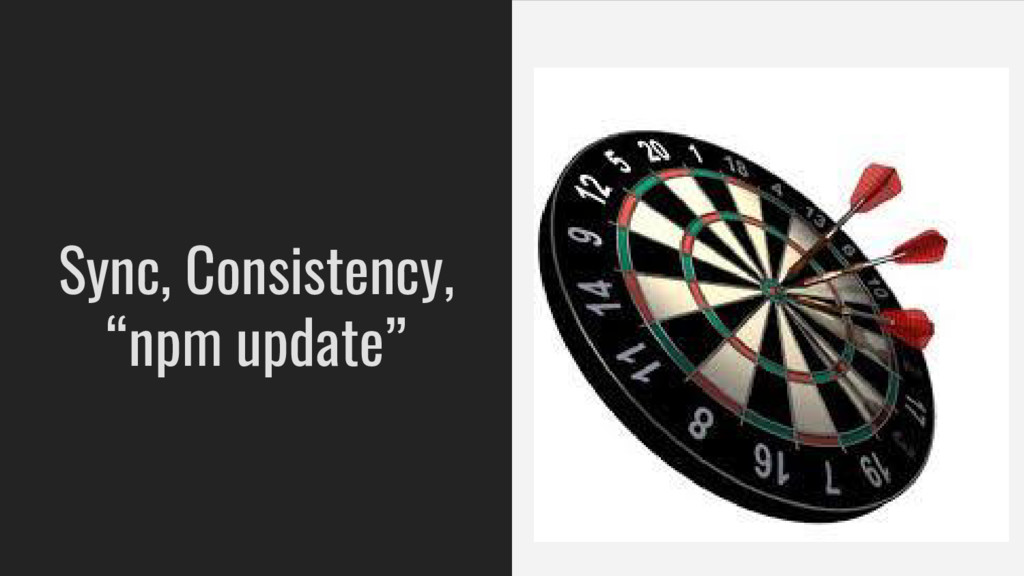 """Sync, Consistency, """"npm update"""""""