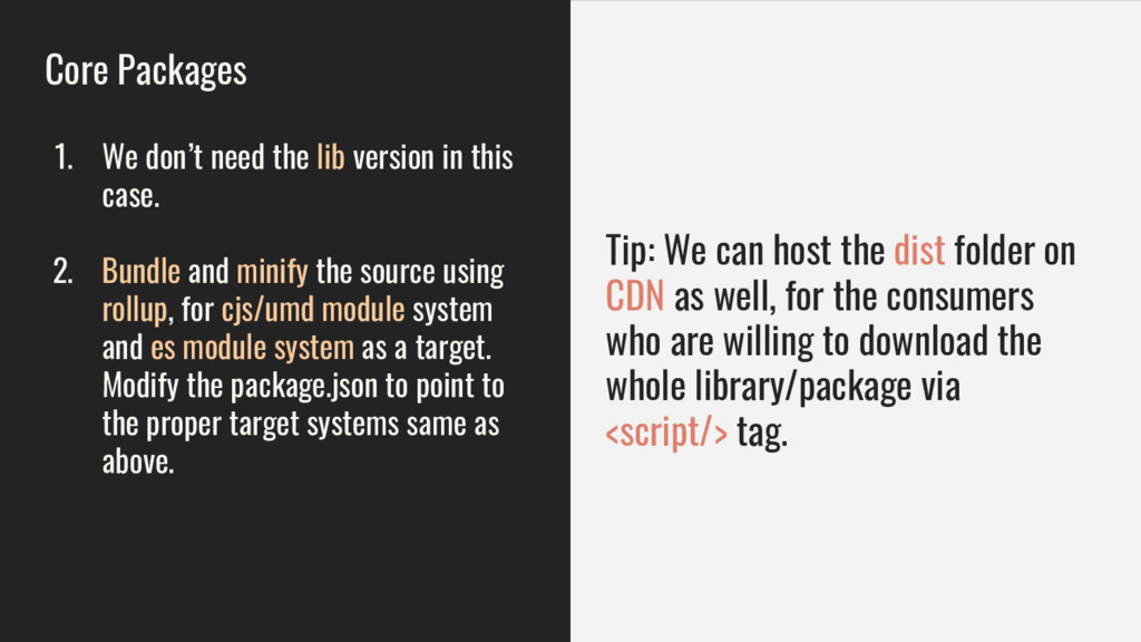 Core Packages 1. We don't need the lib version ...