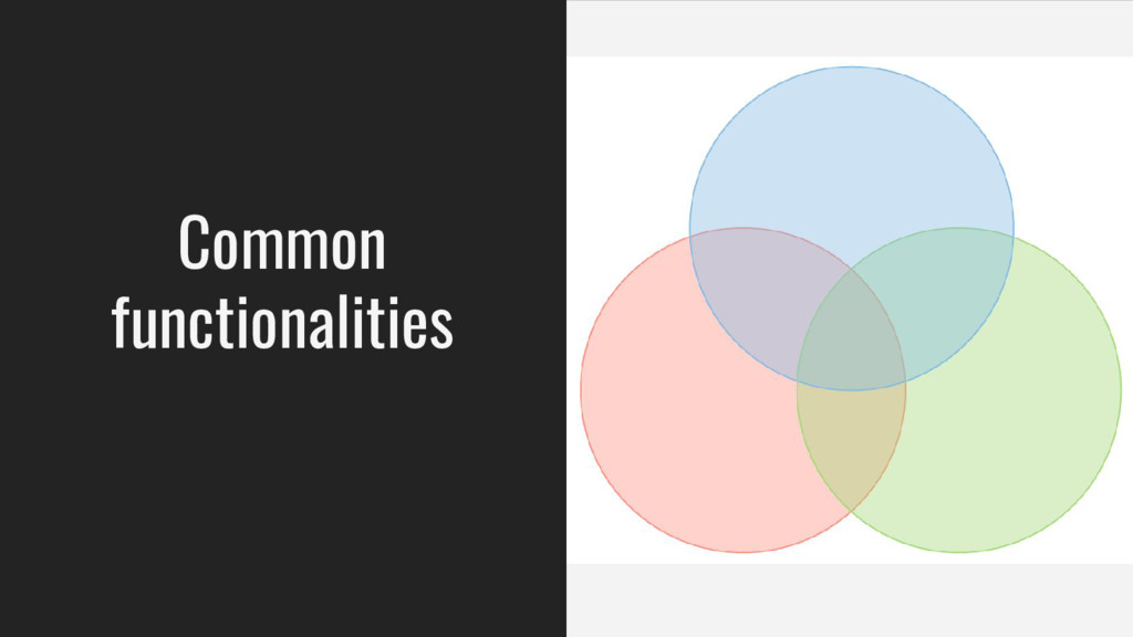 Common functionalities