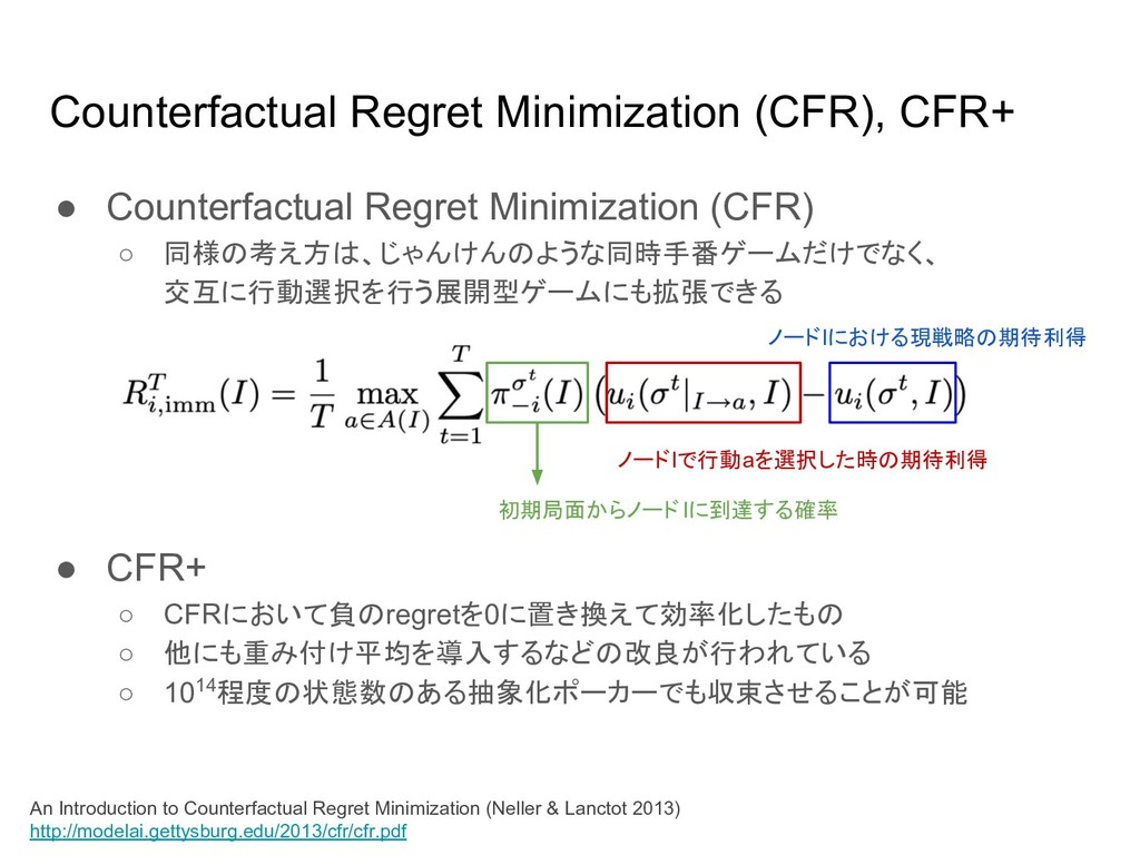 Counterfactual Regret Minimization (CFR), CFR+ ...